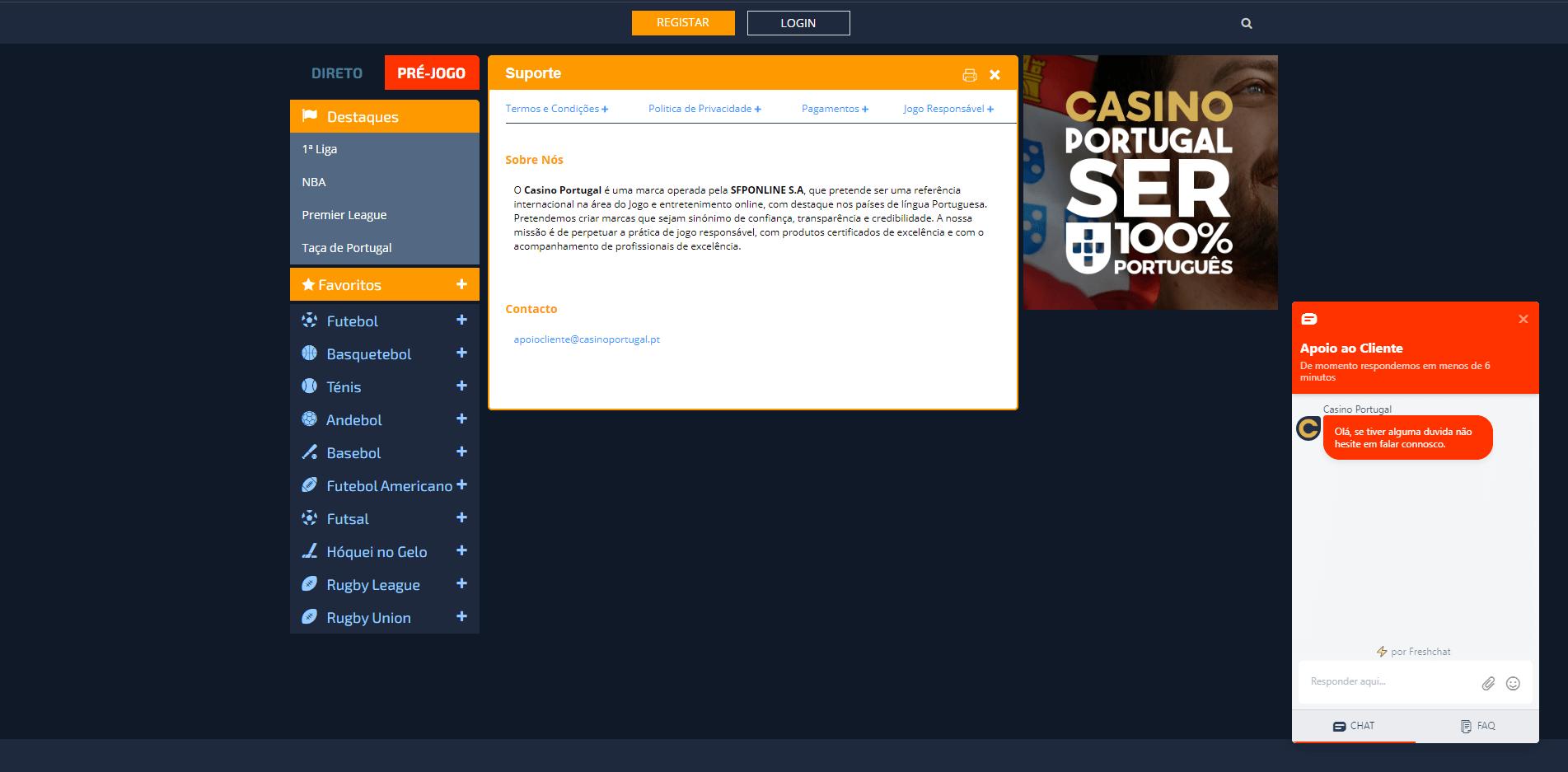 apoio ao cliente do Casino Portugal