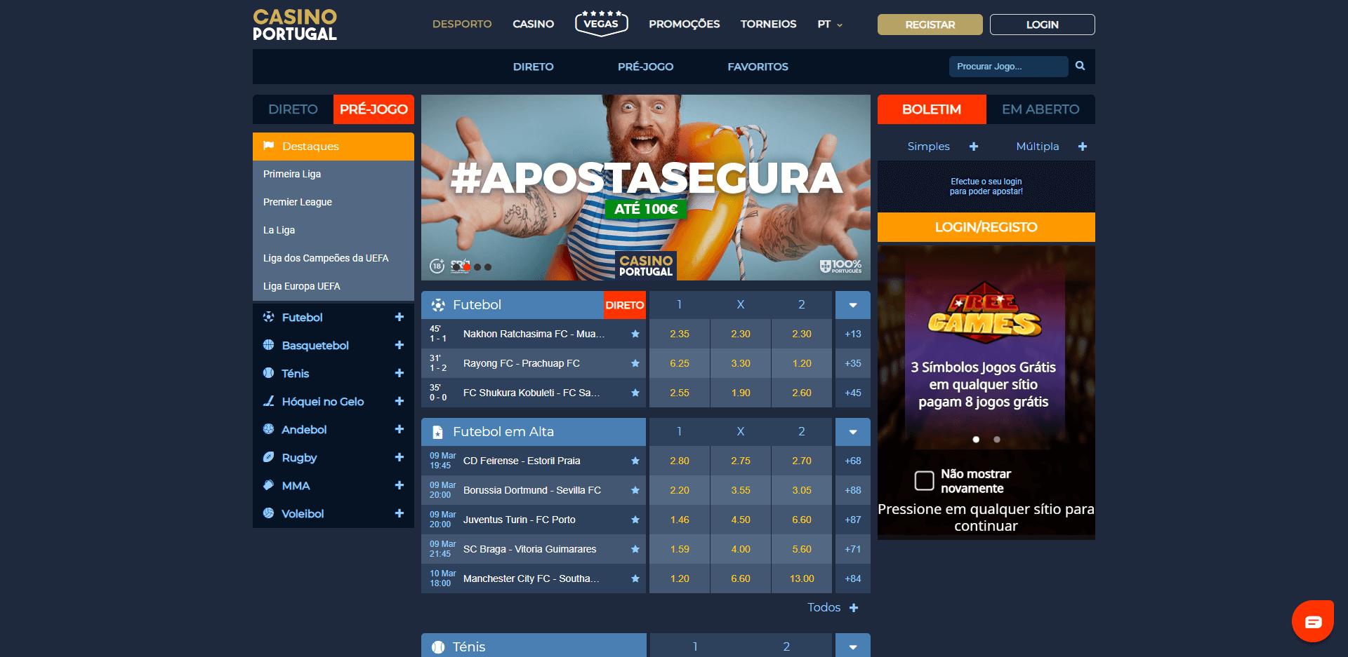 apostas desportivas no Casino Portugal
