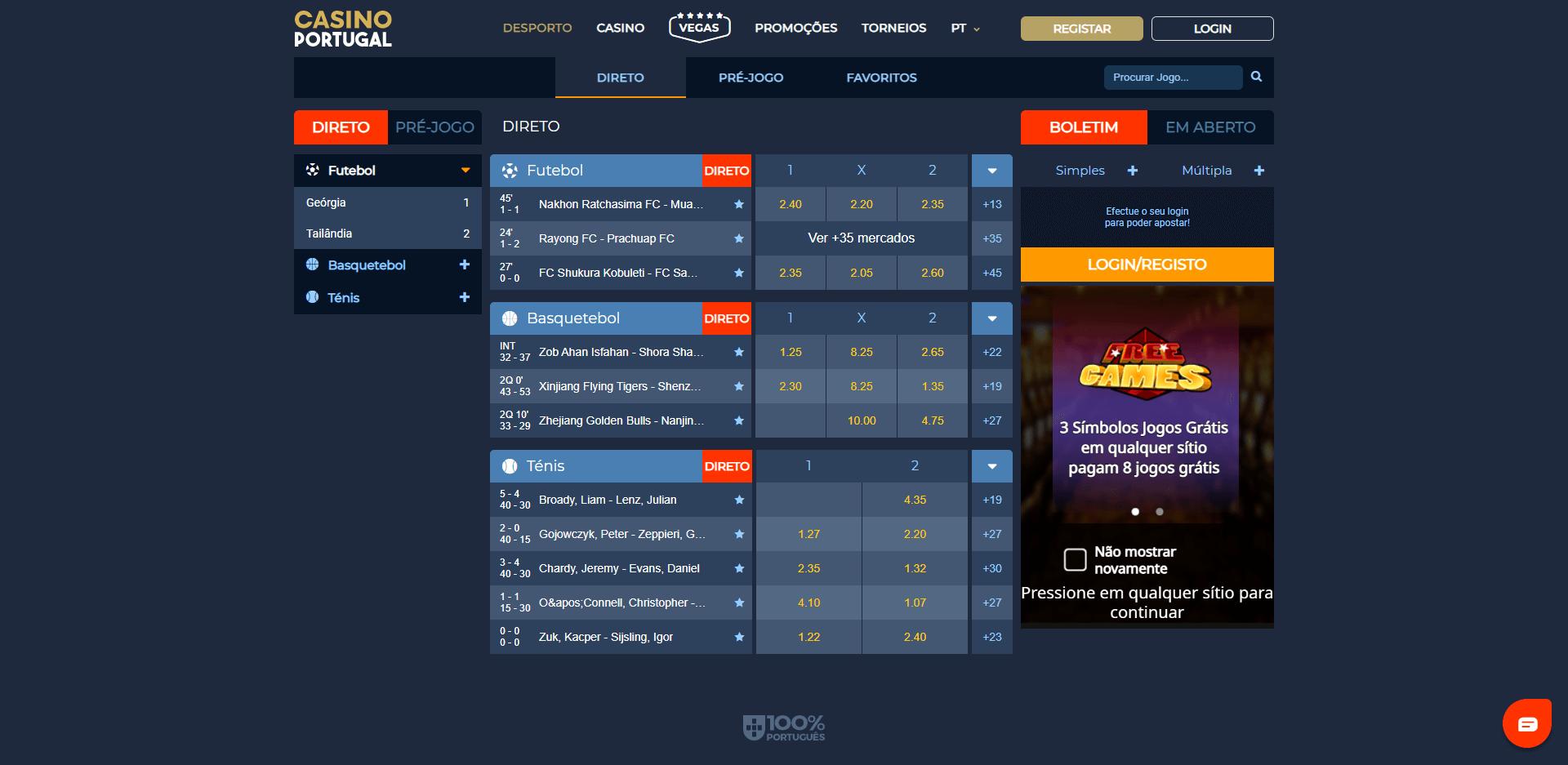 jogos com apostas em direto no Casino Portugal